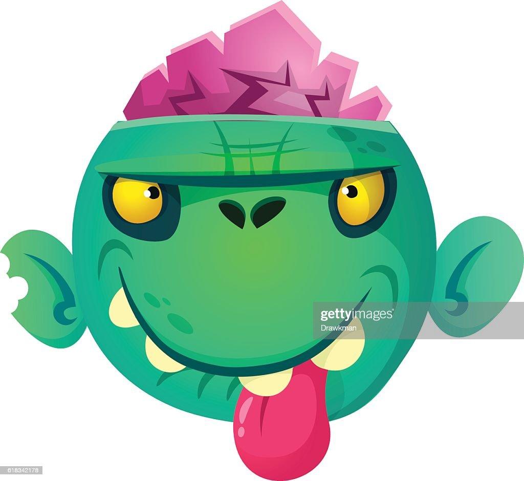 Cartoon zombie head icon. Halloween vector illustration