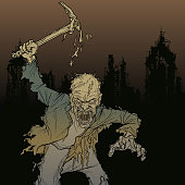 cartoon zombie man with a pick in his hand in the ruins of the city