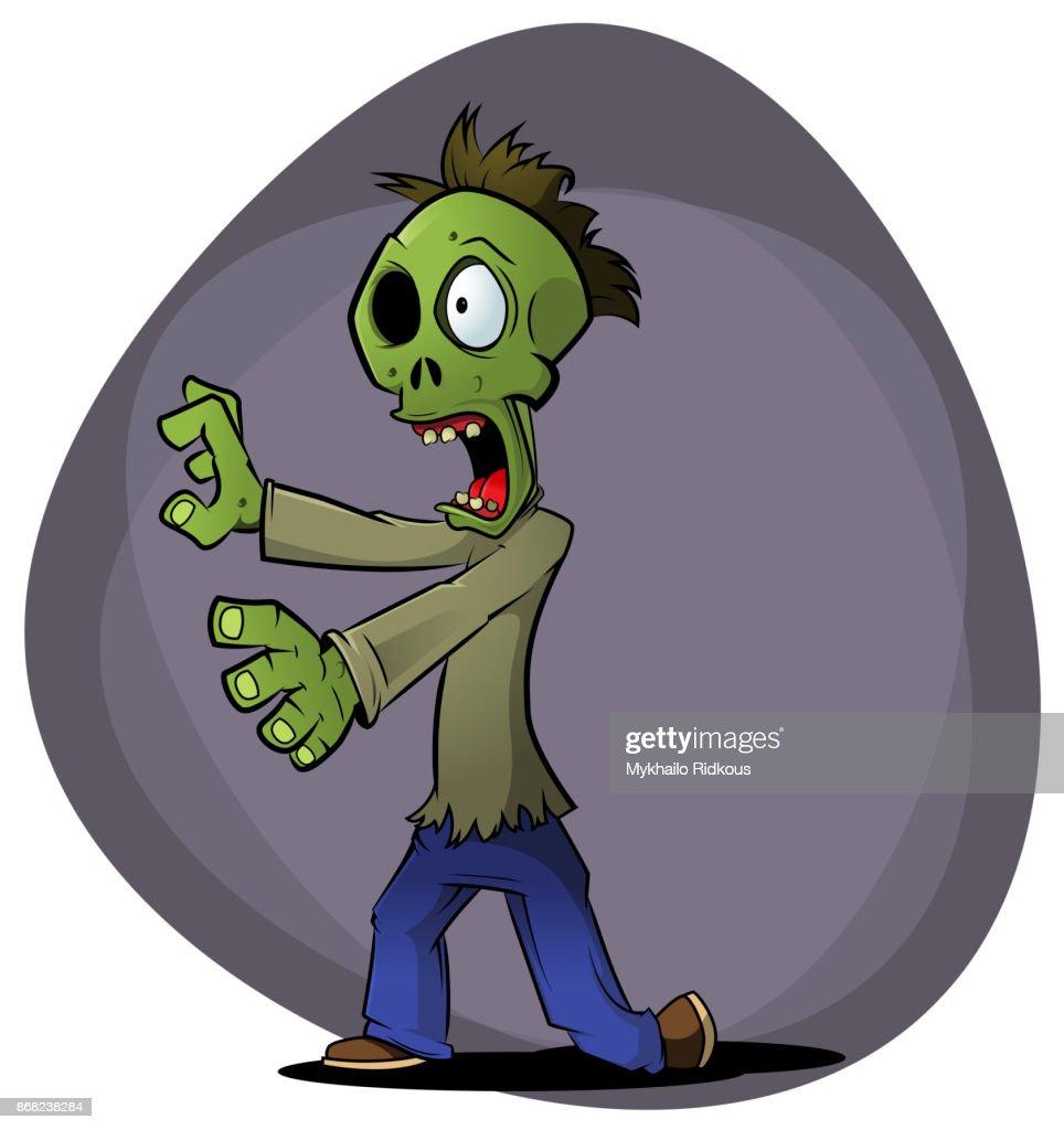 Cartoon zombie on dark background.