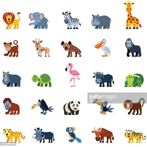 cartoon zoo animals - african buffalo stock illustrations, clip art, cartoons, & icons