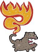 cartooncat with burning tail