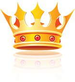 Cartoonish gold royal crown with red rubies