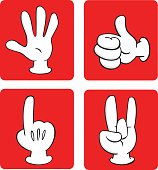 Cartoonish hands with three fingers gestures