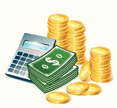 Cartoonish image of calculator, coins and paper money