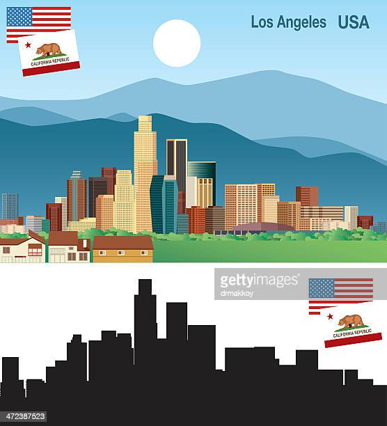Cartoonish Los Angeles, CA skyline in color and black/white