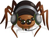 Cartoonish spider talking on Skype