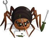 Cartoonish spider with brush, screwdriver and nut key