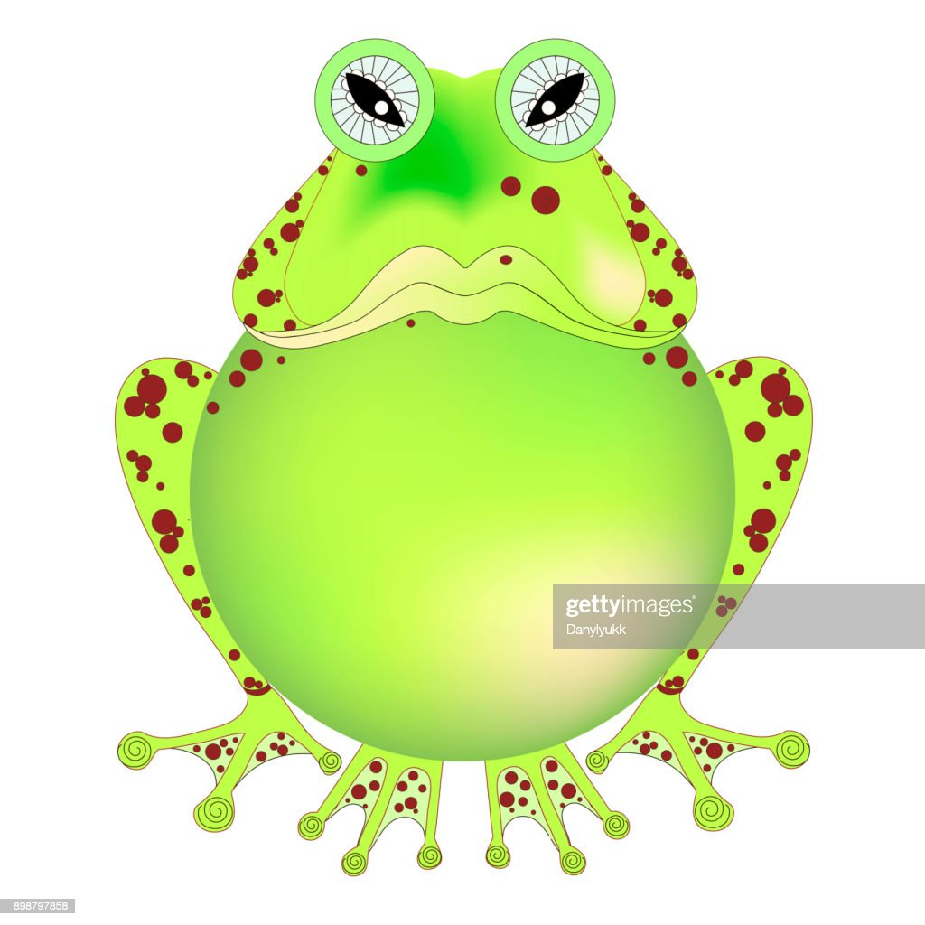 Cartoons hand drawn angry green frog