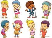 Cartoons of children singing and having fun