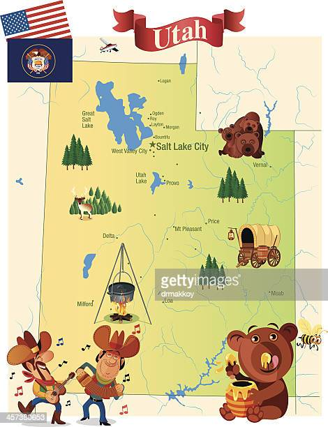 cartoot map of utah - utah stock illustrations, clip art, cartoons, & icons