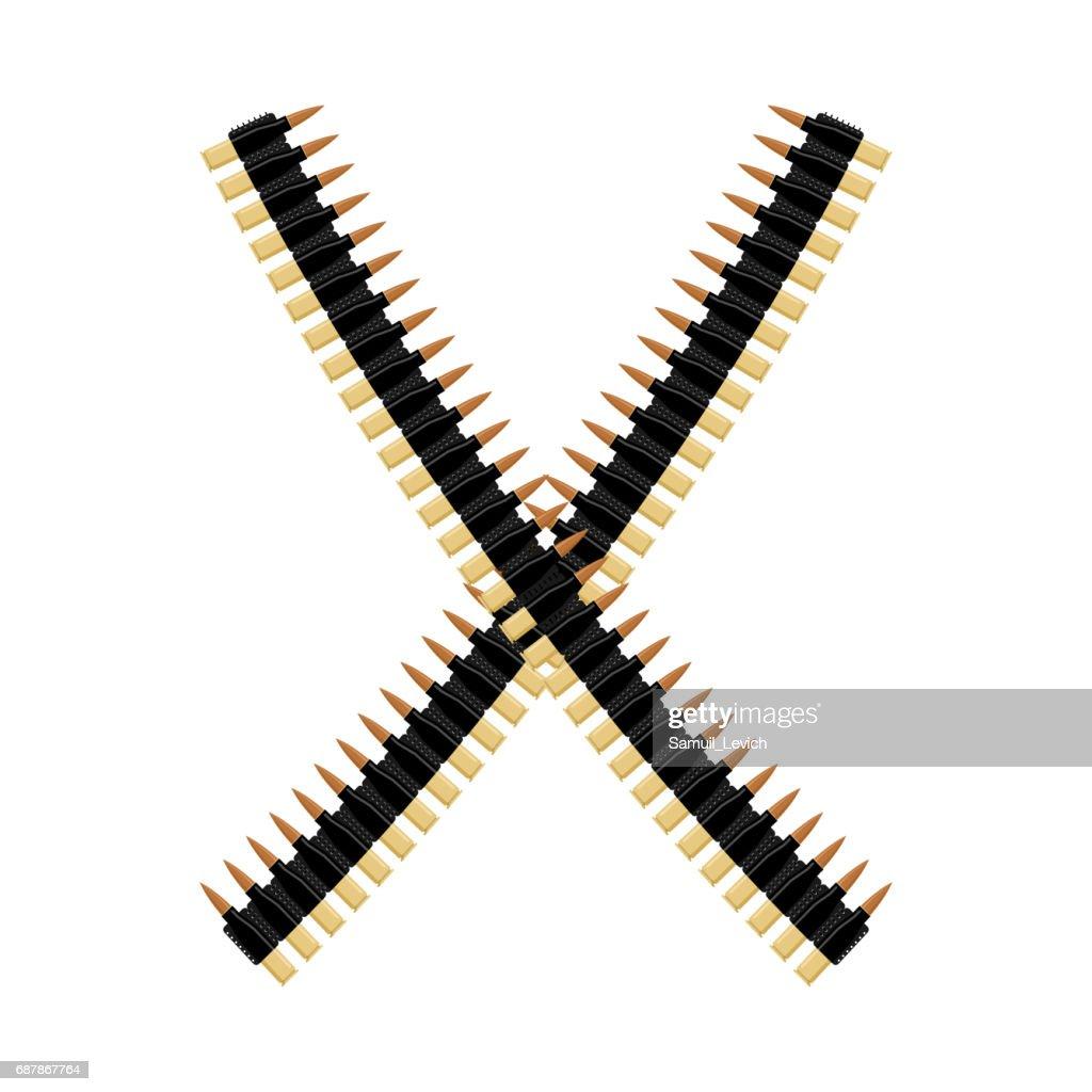 Cartridge belt. Bullet tape isolated. Bandolier on white background. Clip holder. military ammunition