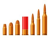Cartridges vector set. A collection of bullets isolated on white background. Weapon ammo types and size in flat style. Vector illustration
