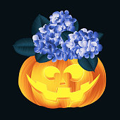 Carved Halloween pumpkin head jack lantern decorated with Hydrangea and Ficus Elastica leaves