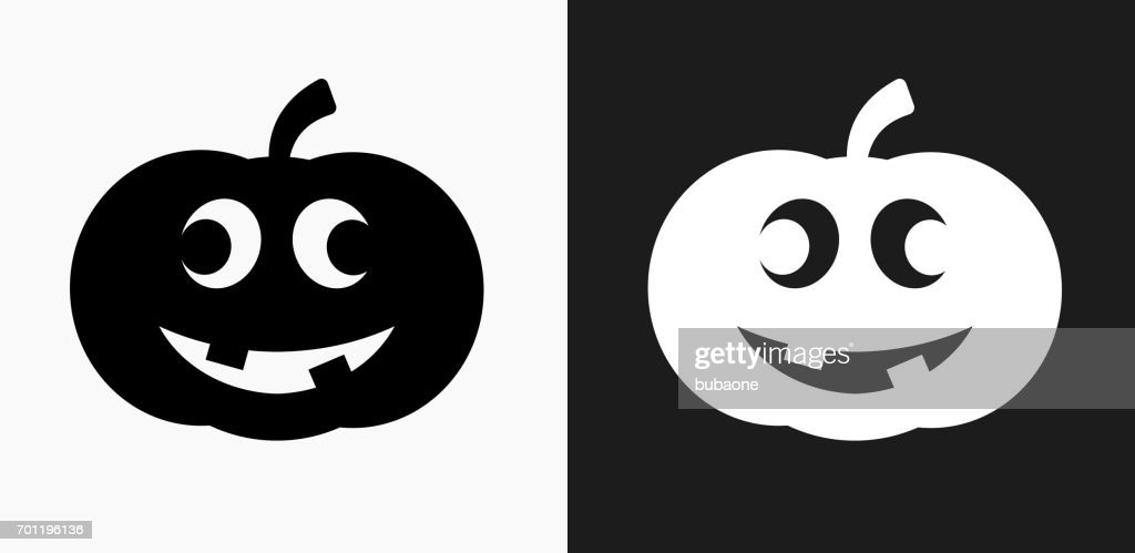Carved Halloween Pumpkin Icon On Black And White Vector Backgrounds ...