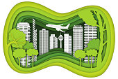 Carving design of city urban and airplane with green nature as business, travel in the popular cityscape, transportation, ecology idea, Paper cut art and craft style concept. vector illustration