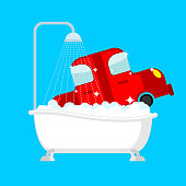 Carwash car in bath. Auto wash in bathtub
