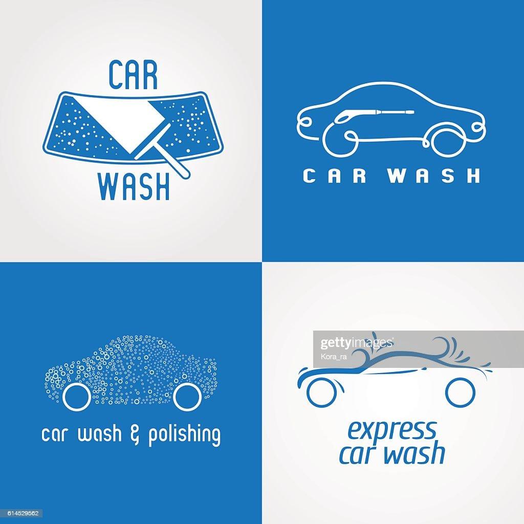 Carwash, car wash set of vector icon, symbol, emblem