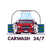 Carwash line style banner