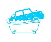 Carwash sign. Car in bath. Auto wash in bathtub