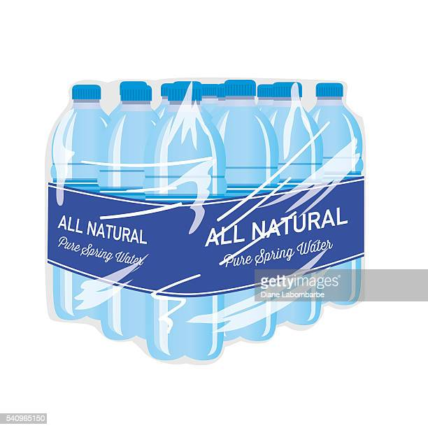 case of bottled water with blue label - water bottle stock illustrations, clip art, cartoons, & icons