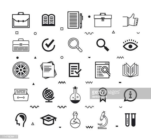 case study consulting line style vector icon set - legislation stock illustrations