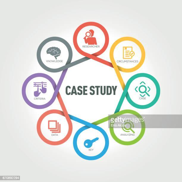 Case Study infographic with 8 steps, parts, options