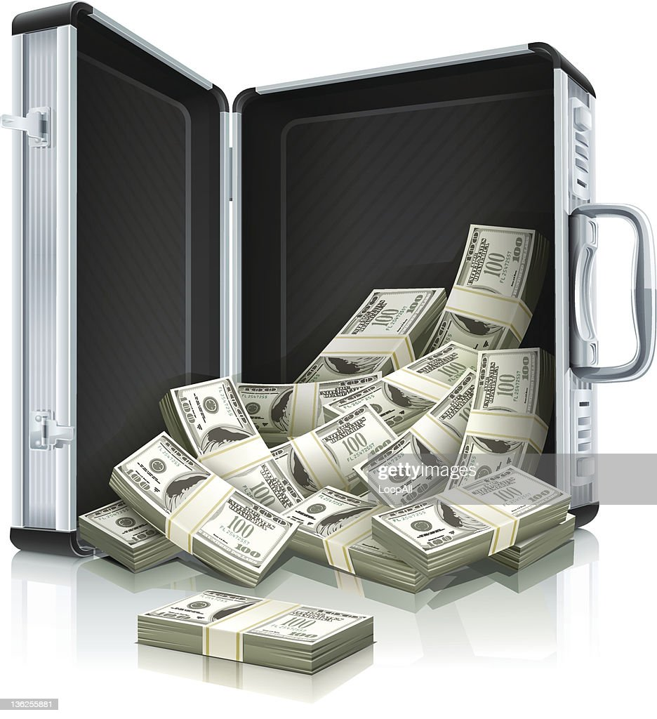 case with dollars money concept