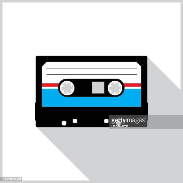 casette tape shadow icon - nostalgia stock illustrations