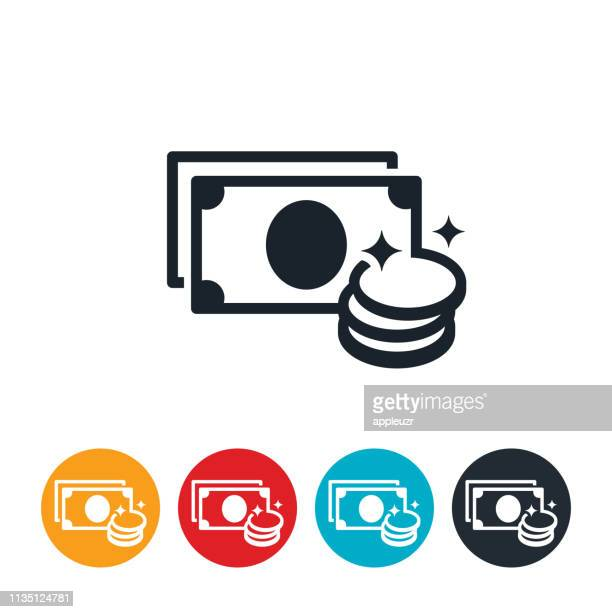cash and coins icon - bling bling stock illustrations, clip art, cartoons, & icons