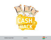 Cash back banner with 200 Indian Rupee Banknotes and coins. Flat style vector illustration. Shopping and sales concept.