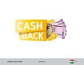 Cash back banner with 2000 Indian Rupee Banknotes and coins. Flat style vector illustration. Shopping and sales concept.