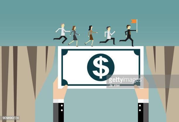 Bargeld-bridging für Business-team
