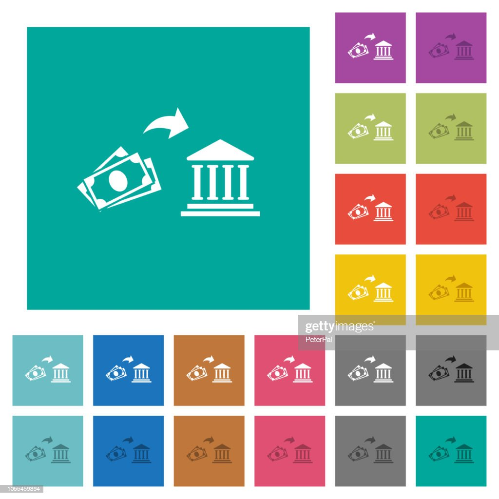 Cash deposit to bank square flat multi colored icons