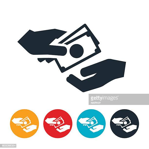 cash exchanging hands icon - geldschein stock-grafiken, -clipart, -cartoons und -symbole