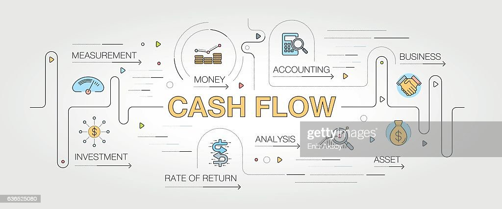 Cash Flow banner and icons : stock illustration