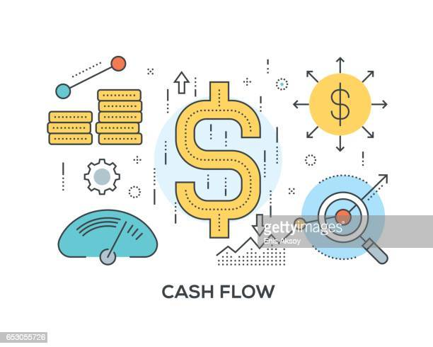 cash flow concept with icons - cash flow stock illustrations, clip art, cartoons, & icons