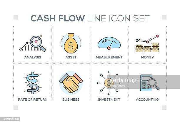 Cash Flow keywords with line icons