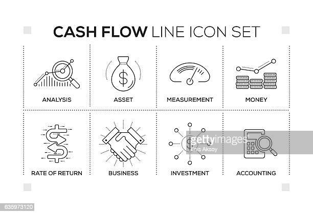 Cash Flow keywords with monochrome line icons