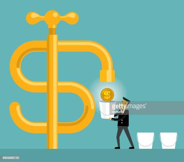 Cash flow with businessman