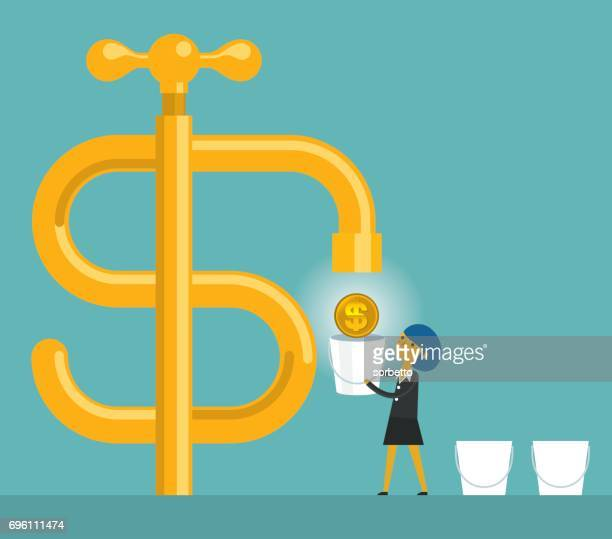 cash flow with businesswoman - bucket stock illustrations, clip art, cartoons, & icons