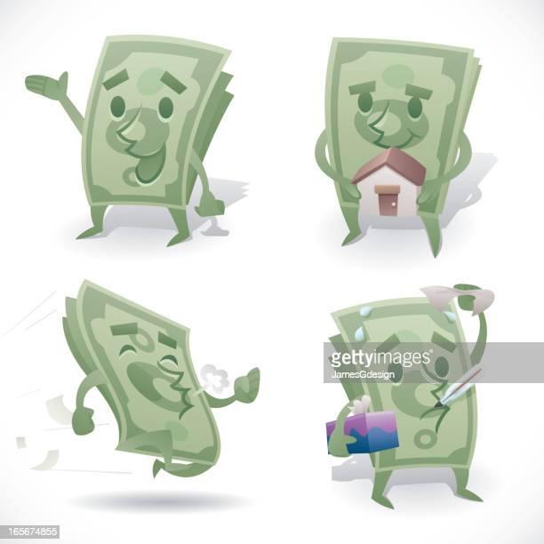 ilustraciones, imágenes clip art, dibujos animados e iconos de stock de hombre de efectivo - fajo de billetes