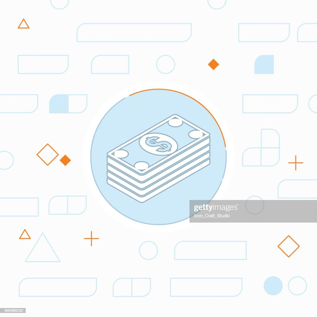 Cash money banknotes vector flat icon