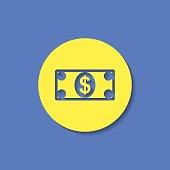 Cash paper money vector flat icon