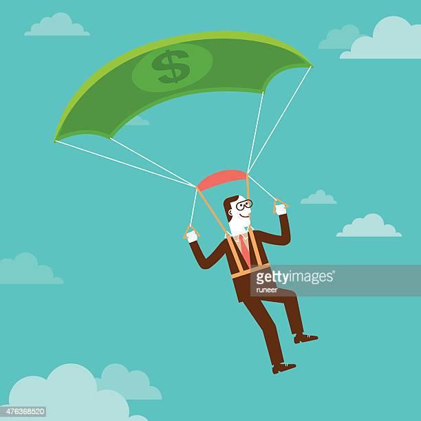illustrations, cliparts, dessins animés et icônes de espèces parachutisme homme d'affaires/new business concept - saut en parachute