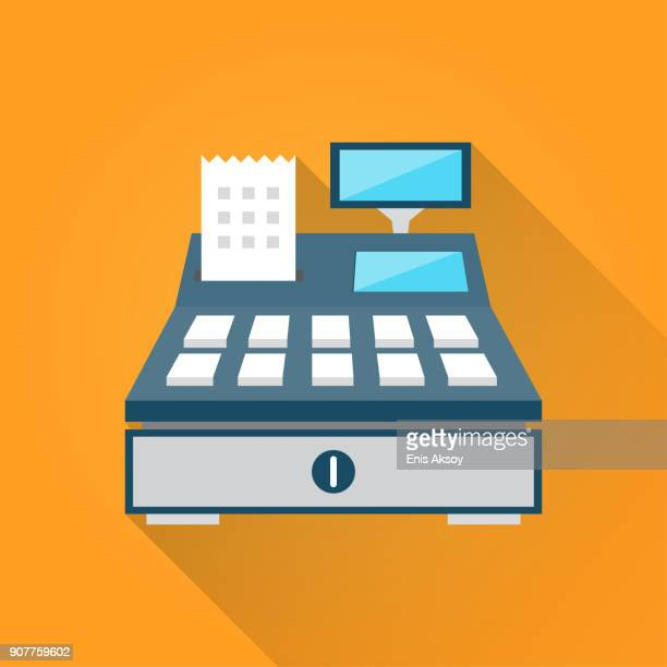 cash register flat icon - cash register stock illustrations