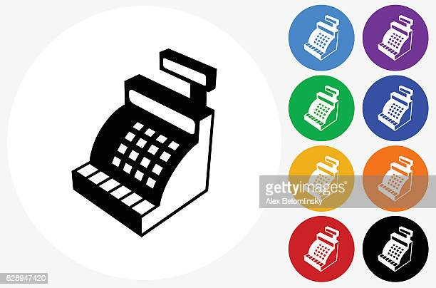 Cash Register Icon on Flat Color Circle Buttons