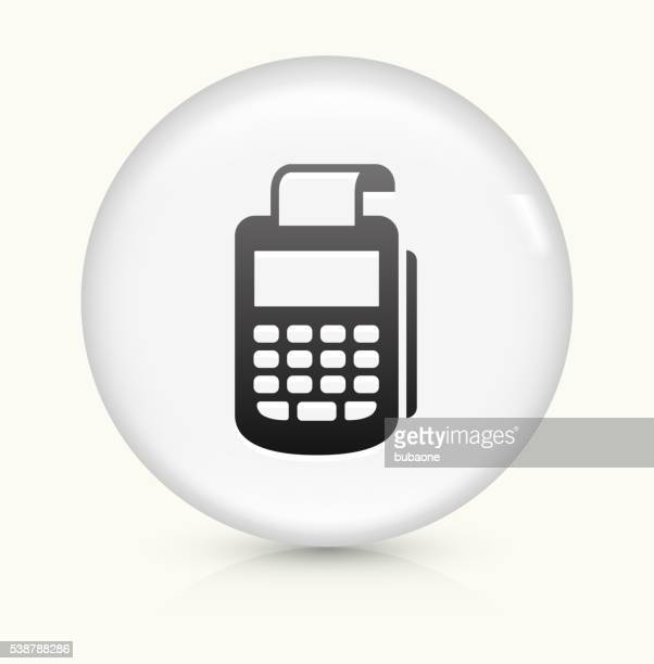 cash register icon on white round vector button - card reader stock illustrations, clip art, cartoons, & icons