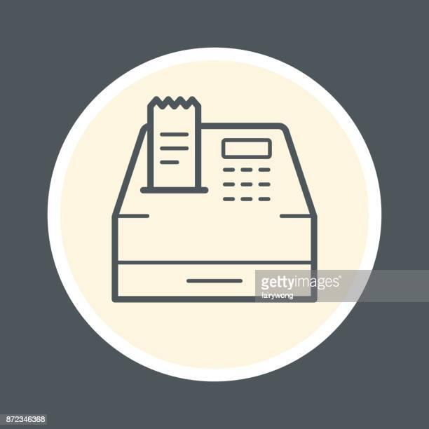 cash register icon - receipt stock illustrations, clip art, cartoons, & icons