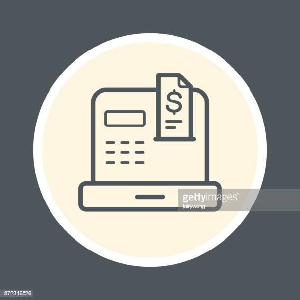 ilustrações, clipart, desenhos animados e ícones de ícone de caixa registradora - recibo