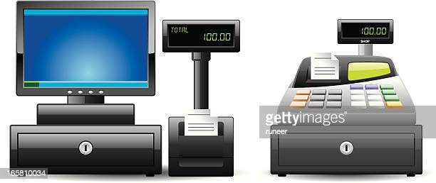 cash register icons | classic series - checkout stock illustrations, clip art, cartoons, & icons